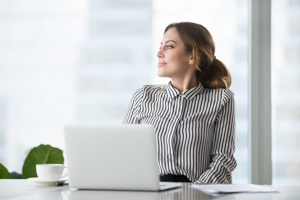 Career move, career advice, right job, businesswoman thinking